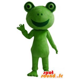 Maskotti vihreä sammakko, jättiläinen, hymyilevä