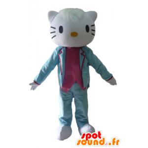 Hello Kitty maskot, kledd i blå dress og rosa