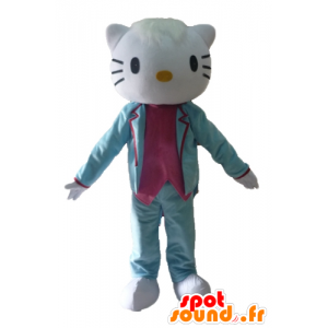 Mascotte Hello Kitty, habillée en costume bleu et rose