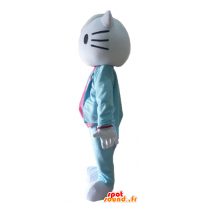 Hello Kitty mascot, dressed in blue suit and pink - MASFR23411 - Mascots Hello Kitty