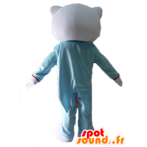 Mascotte Hello Kitty, habillée en costume bleu et rose - MASFR23411 - Mascottes Hello Kitty