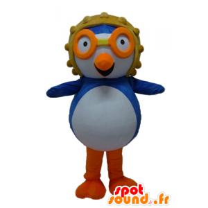 Maskotka niebieski i biały ptak latający z kaskiem - MASFR23419 - ptaki Mascot