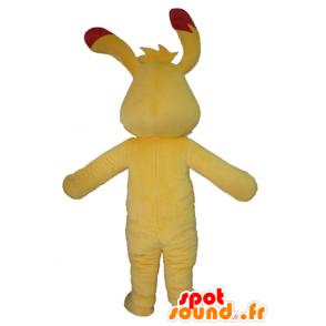 Gul og rød kanin maskot, farverig og original - Spotsound