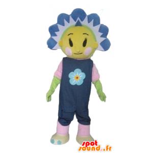 Mascot ganske gul og blå blomst, søt og fargerik