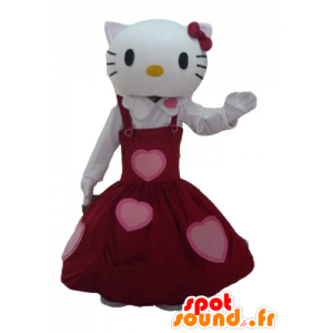 Hello Kitty mascot, dressed in a beautiful red dress
