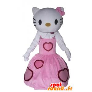 Mascot Hello Kitty gekleed in een roze jurk