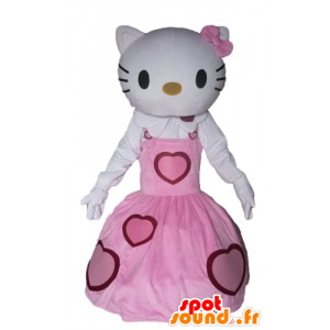 Mascote Olá Kitty vestida com um vestido rosa