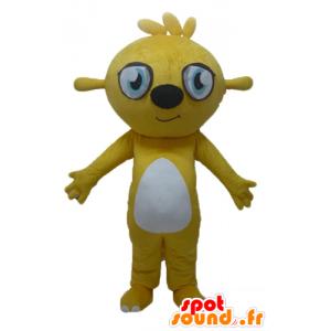 Bever mascotte, geel en wit knaagdieren