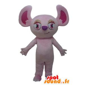 Mascot rosa koala, ardilla de color rosa