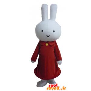 Blanca mascota conejo de peluche vestido de rojo - MASFR23456 - Mascota de conejo