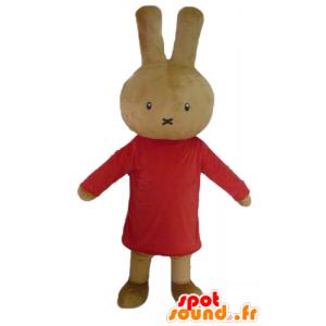 Brown rabbit mascot teddy dressed in red - MASFR23458 - Rabbit mascot
