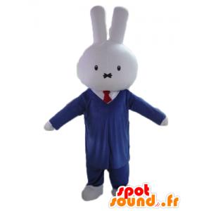 Weißes Kaninchen Maskottchen, in einem Anzug und Krawatte - MASFR23459 - Hase Maskottchen