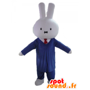 White rabbit mascot, dressed in a suit and tie - MASFR23459 - Rabbit mascot