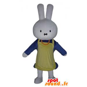 Mascote coelho branco, vestida de azul, com um avental - MASFR23460 - coelhos mascote