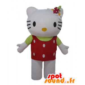 Hello Kitty mascot with a red top with white dots
