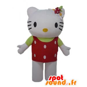Mascot Hello Kitty, met een rode top met witte stippen