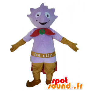 Mascot little purple monster with a cape and slippers - MASFR23468 - Monsters mascots