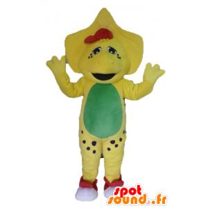 Yellow dinosaur mascot, green and red - MASFR23473 - Mascots dinosaur
