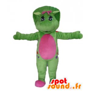 Mascot grün und rosa Dinosaurier, Riesen - MASFR23474 - Maskottchen-Dinosaurier