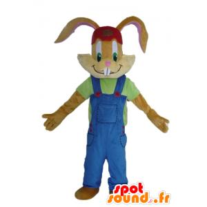 Brun kanin maskot, med en vakker blå kjeledress - MASFR23486 - Mascot kaniner