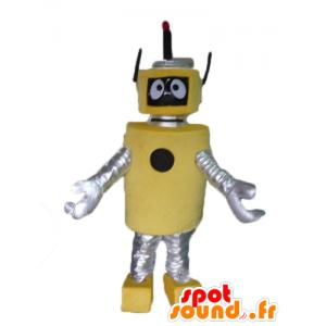 Mascotte de grand robot jaune et argenté, très beau et original - MASFR23487 - Mascottes de Robots