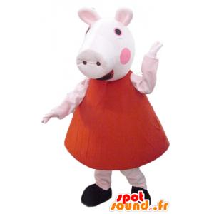 赤いドレスを着たピンクのブタのマスコット-masfr23494-ブタのマスコット