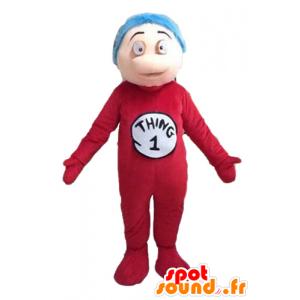 Poika maskotti, punainen puku ja sininen hiukset - MASFR23500 - Maskotteja Boys and Girls