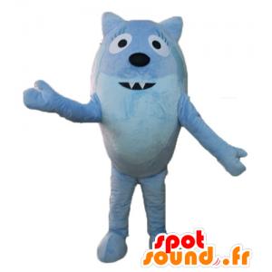 Fox mascot, blue animal, all round and cute - MASFR23506 - Mascots Fox