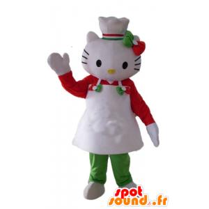 Mascot Hello Kitty, med et forkle og en kokk lue