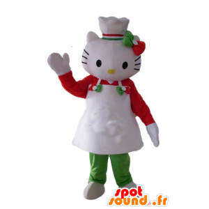 Mascot Hello Kitty with an apron and a toque
