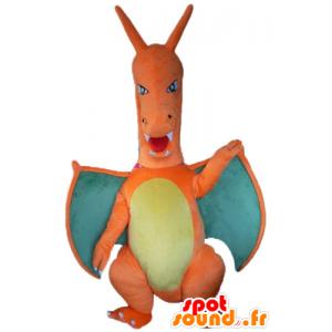 Oranssi lohikäärme maskotti, vihreä ja keltainen, jättiläinen - MASFR23508 - Dragon Mascot