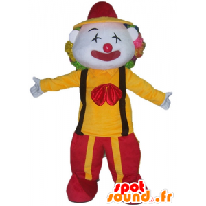 Mascotte de clown en tenue rouge et jaune