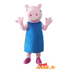 Rosa Schwein-Maskottchen mit einem blauen Kleid - MASFR23519 - Maskottchen Schwein