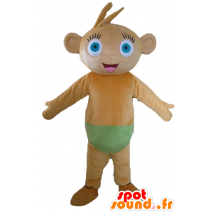 Brown monkey mascot, with blue eyes, with a green slip - MASFR23534 - Mascots monkey