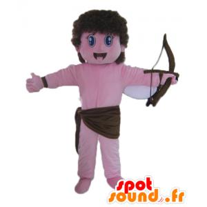 Mascot Cupido, roze engel met een boog en vleugels