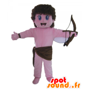 Mascota de Cupido, ángel rosado con el arco y las alas