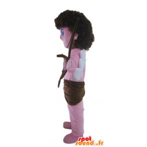 Mascotte de Cupidon, d'ange rose, avec un arc et des ailes - MASFR23543 - Mascottes Fée