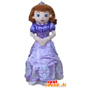 Princess μασκότ, σε ένα όμορφο μοβ φόρεμα