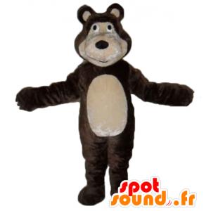 Mascot brunt og beige bjørn, gigantiske og rørende - MASFR23558 - bjørn Mascot