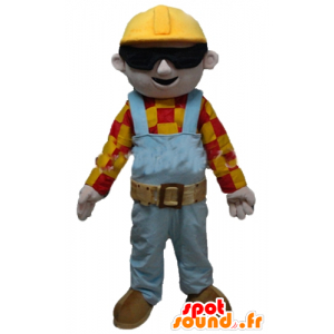 Mascotte Arbeiter, Tischler, farbigen Outfit