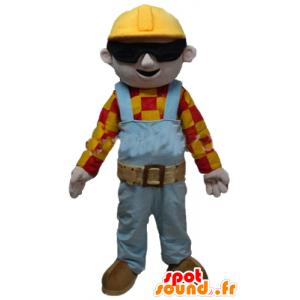 Mascotte d'ouvrier, de charpentier, en tenue colorée