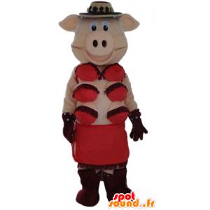 ピンクのブタのマスコット、赤い下着付き-MASFR23573-ブタのマスコット