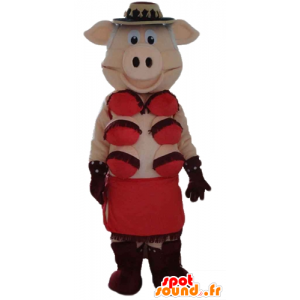 Rosa freche Maskottchen mit roter Unterwäsche - MASFR23573 - Maskottchen Schwein