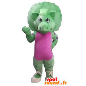 Mascot green and pink dinosaur, giant - MASFR23587 - Mascots dinosaur