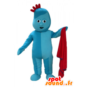 Maskot blå mann, med en rød kam - MASFR23603 - Ikke-klassifiserte Mascots
