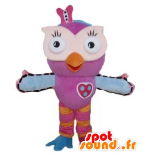 Maskotka sowa różowy, pomarańczowy i niebieski, bardzo zabawne i kolorowe - MASFR23604 - ptaki Mascot