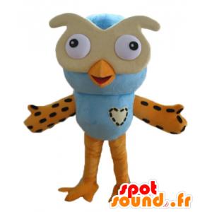 Stor blå og orange uglemaskot med briller - Spotsound maskot