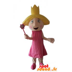 Mascotte de fée, de princesse, en robe rose, avec des ailes