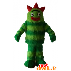 Green monster mascot, bicolor, all hairy - MASFR23635 - Monsters mascots