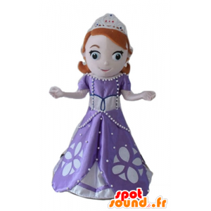 Mascot pretty redhead princess with a purple dress